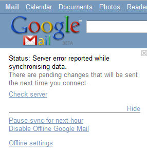 Googlemail failure (note the 'Beta' in small type by the logo)