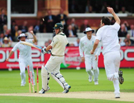 Marcus North drags James Anderson into his stumps, England v Australia, 2nd Test, Lord's, 2nd day, July 17, 2009