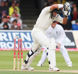 Michael Hussey leaves one and is bowled, England v Australia, 2nd Test, Lord's, 2nd day, July 17, 2009