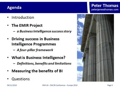 Measuring the success of BI - Agenda