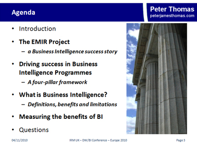 Measuring the success of BI - Agenda
