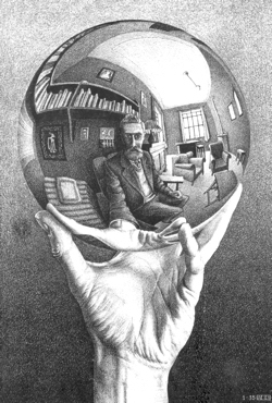 Hand with reflecting sphere - Maurits Cornelis Escher (1935). This is your only clue.