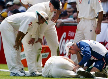 7th November 2002 - Brisbane Cricket Ground, Queensland, Australia. England's Simon Jones ruptures a cruciate ligament. It took him until 11th March 2004 to play for England again.