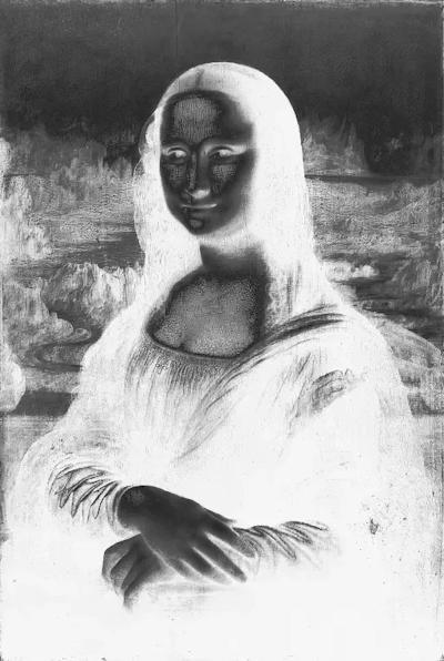 Mona Lisa Rainbow Greyscale